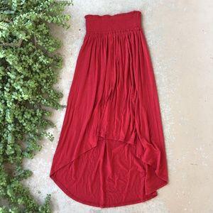 Free People Beach High Low Red Midi Skirt